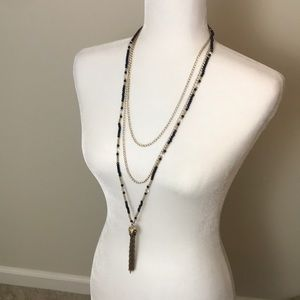 Three chain long black necklace